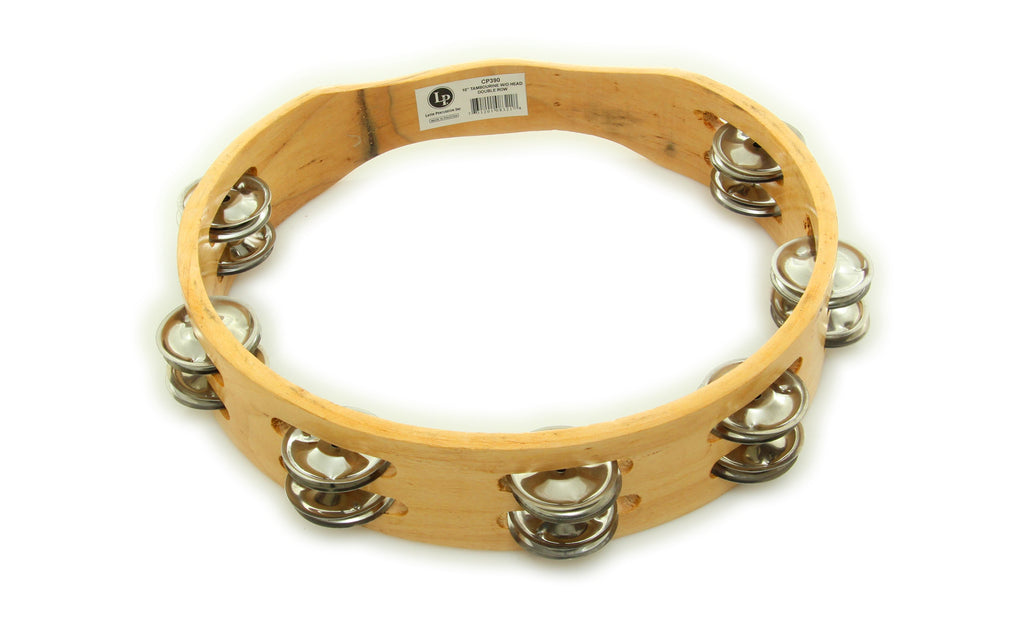 "LP CP390 CP 10"" Wood Headless Tambourine with Double Row Jingles"