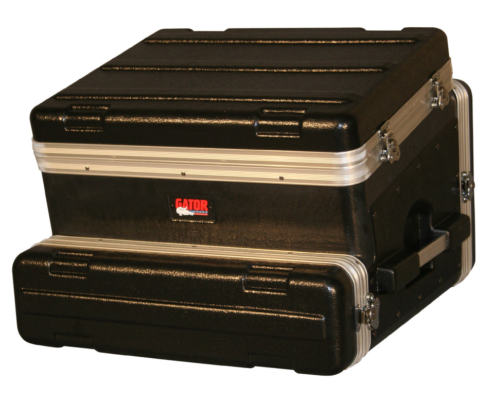 Gator Cases CASES GRC-8X2 ATA Molded PE Slant Top Console Rack 8U Top x 2U Bottom