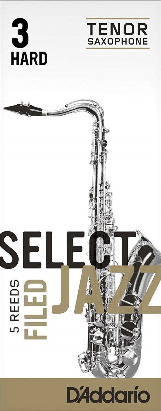 D'Addario Select Jazz Tenor Saxophone Reeds - Filed, 3 Hard 5-Count