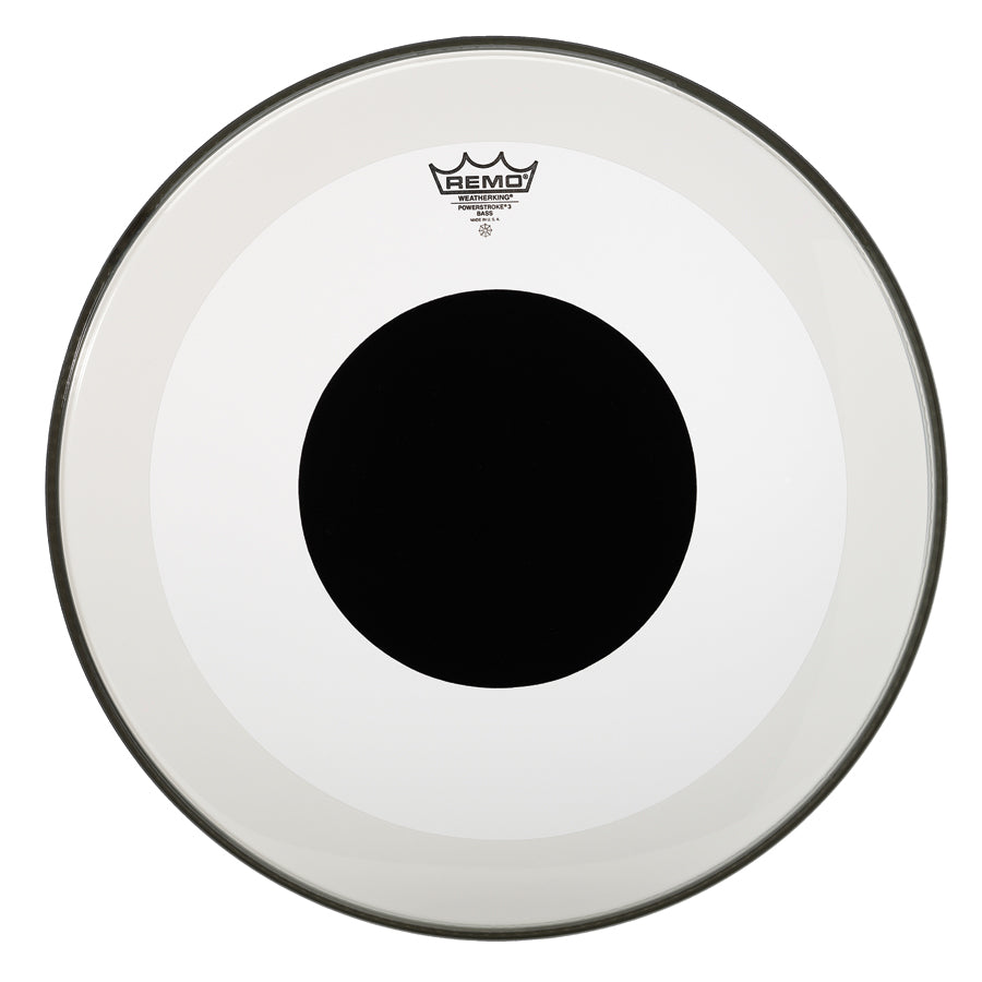 "Remo 22"" Clear Powerstroke 3 Black DOT Bass Drum Head"