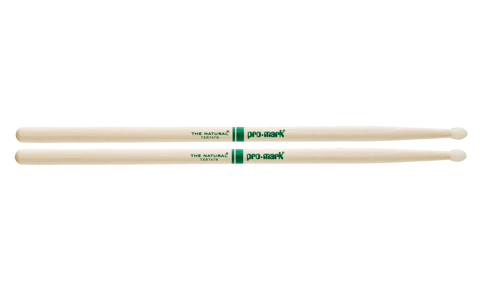 Promark TXR747N Hickory 747 The Natural Nylon Tip drumstick