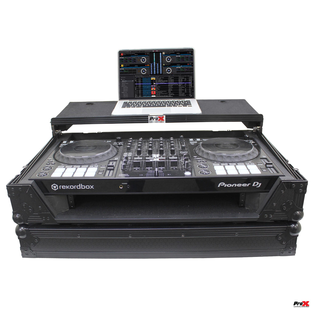 ProX XS-DDJ1000WLTBL Digital Controller Flight Case W/Laptop Shelf & Wheels for Pioneer DDJ1000 - Black on Black