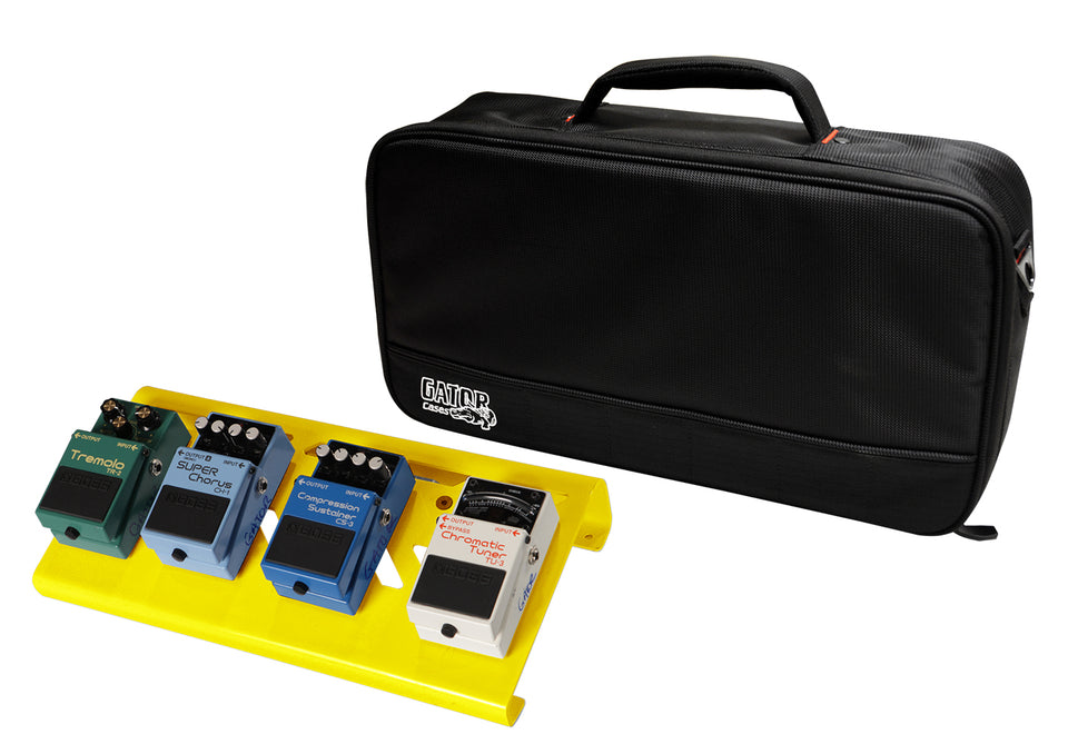 Gator GPB-LAK-YE Overdrive Yellow Small Aluminum Pedal Board With Gator Carry Bag And Bottom Mounting Power Supply Bracket