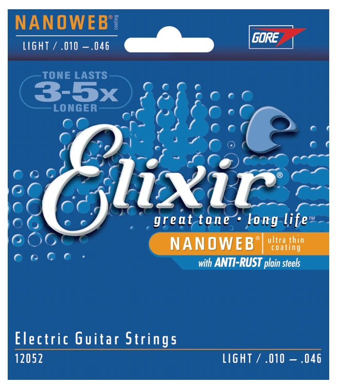 Elixir 12052 Nanoweb Coated Electric Guitar Strings With Anti-Rust Plated Plain Steels, Light (10-46)
