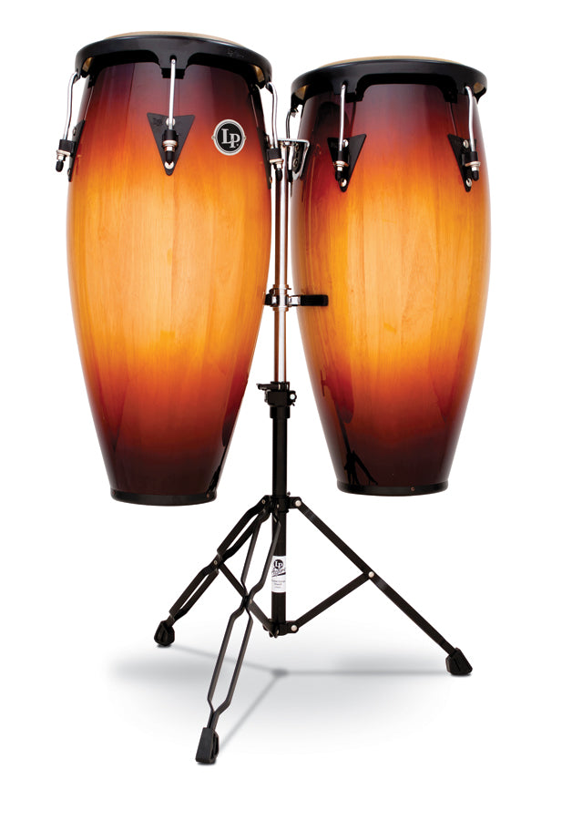"LP LPA646-VSB Aspire Wood 10"" And 11"" Conga Set With Double Stand, Vintage Sunburst/Black"