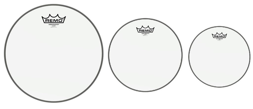 "Remo PP1380BA Ambassador Clear Tom Drum Head Pack - 10"", 12"", 16"""
