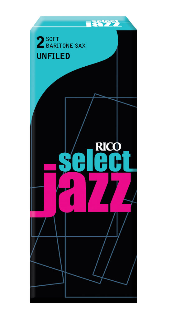 Ddaddario Woodwinds RRS05BSX2S Rico Select Jazz Baritone Sax Reeds, Unfiled, Strength 2 Strength Soft, 10-pack