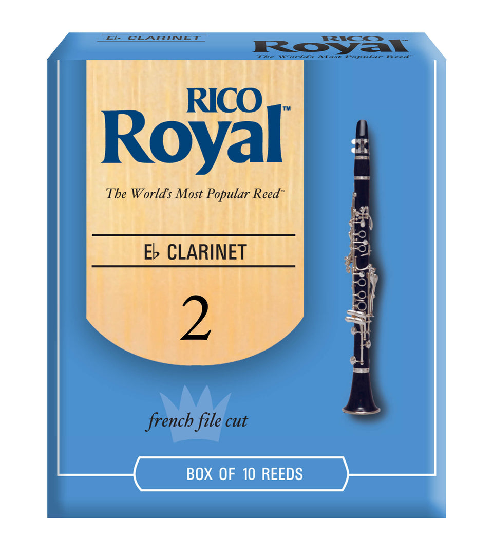 Ddaddario Woodwinds RBB1020 Rico Royal E-Flat Clarinet Reeds, Strength 2.0, 10-pack