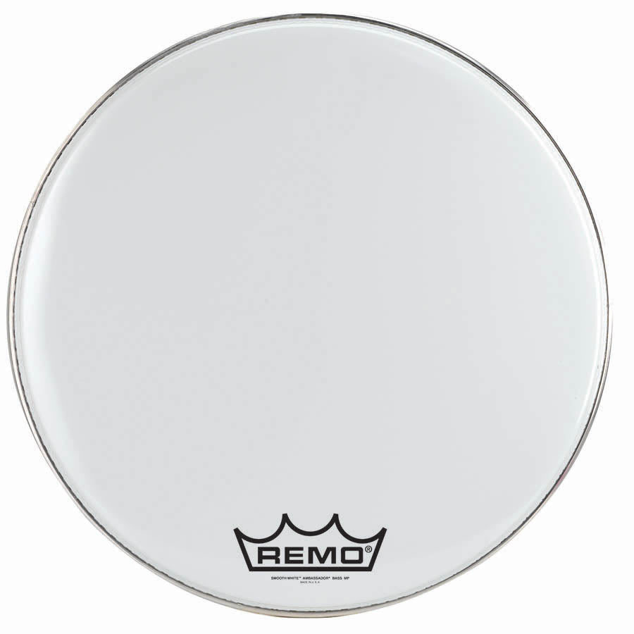 "Remo 22"" Smooth White Crimplock Ambassador Marching Bass Drum Head"