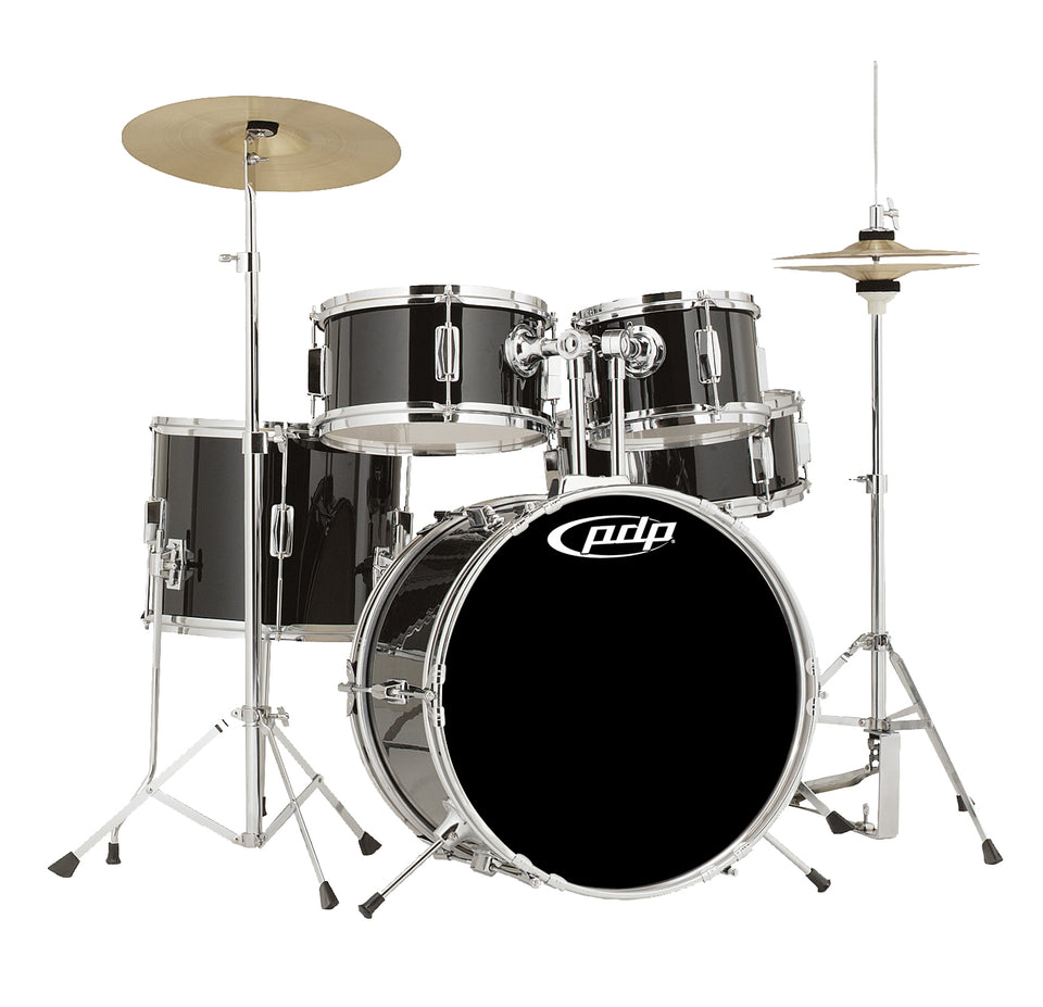 PDP PDJR18KTCB Player's Series 5-Piece Complete Junior Drum Set With Hardware And Cymbals - Black