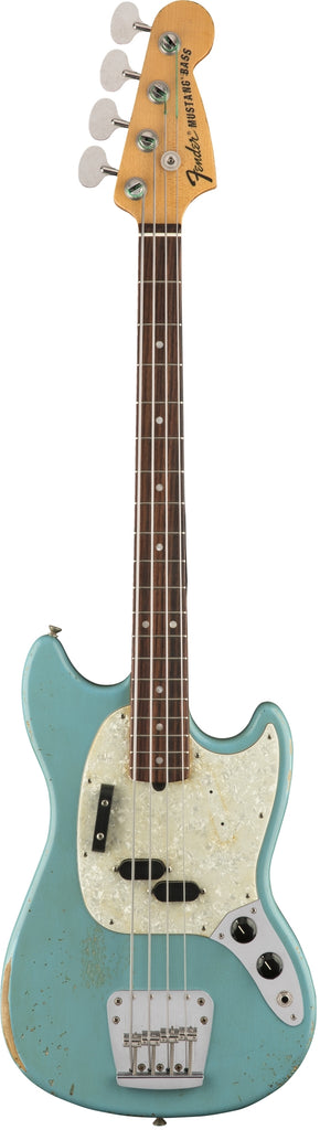 Fender Justin Meldal‑Johnsen Road Worn Mustang Electric Bass Guitar - Faded Daphne Blue