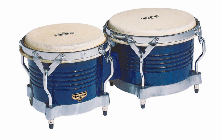 LP M201-BLWC Matador Wood Bongos, Royal Blue/Chrome