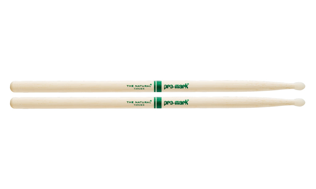 Promark TXR2BN Hickory 2B The Natural Nylon Tip drumstick