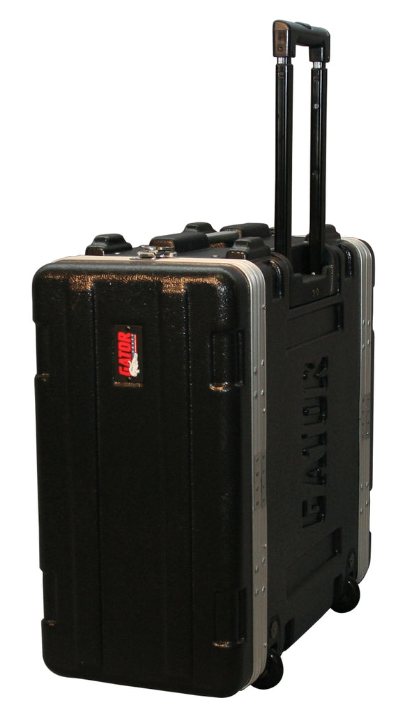 "Gator Cases GRR-4L Molded PE Locking Rack Case With Front And Rear Rails, Pull Handle And Recessed Wheels 4U x 19"" Deep"