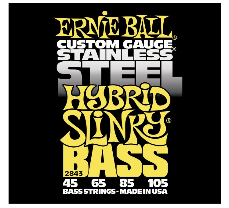Ernie Ball 2843 Stainless Steel Electric Bass Strings, Hybrid Slinky (45 - 105)