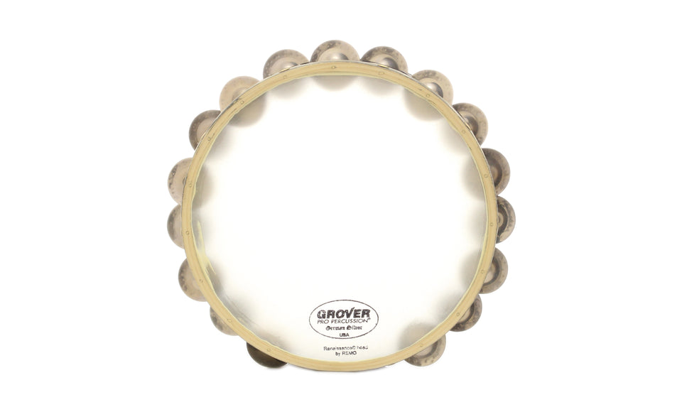 "Grover T2/GS-X 10"" Synthetic Head Tambourine - Double Row, German Silver Jingles"