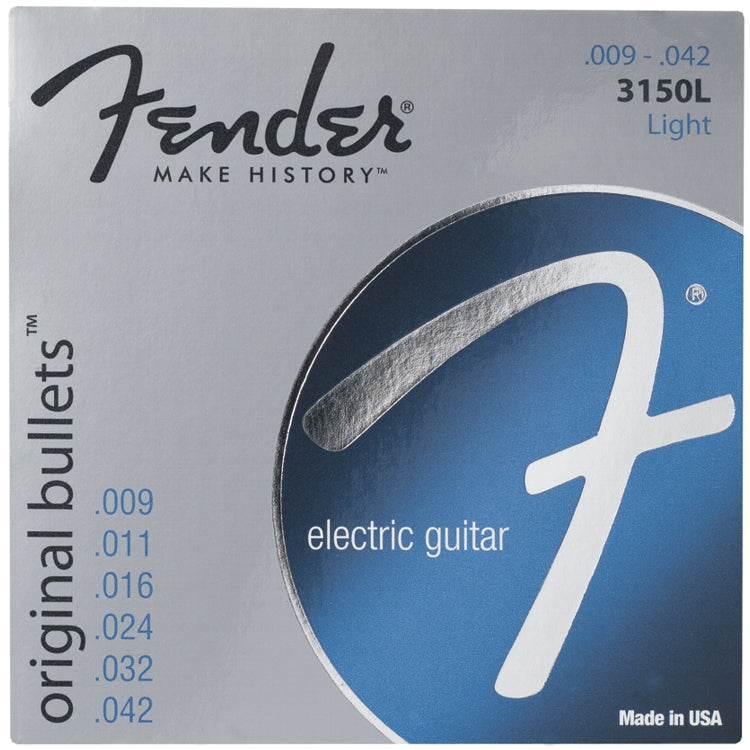Fender 733150403 3150L Original Bullets Pure Nickel Wound Electric Guitar Strings, Light (9 - 42)