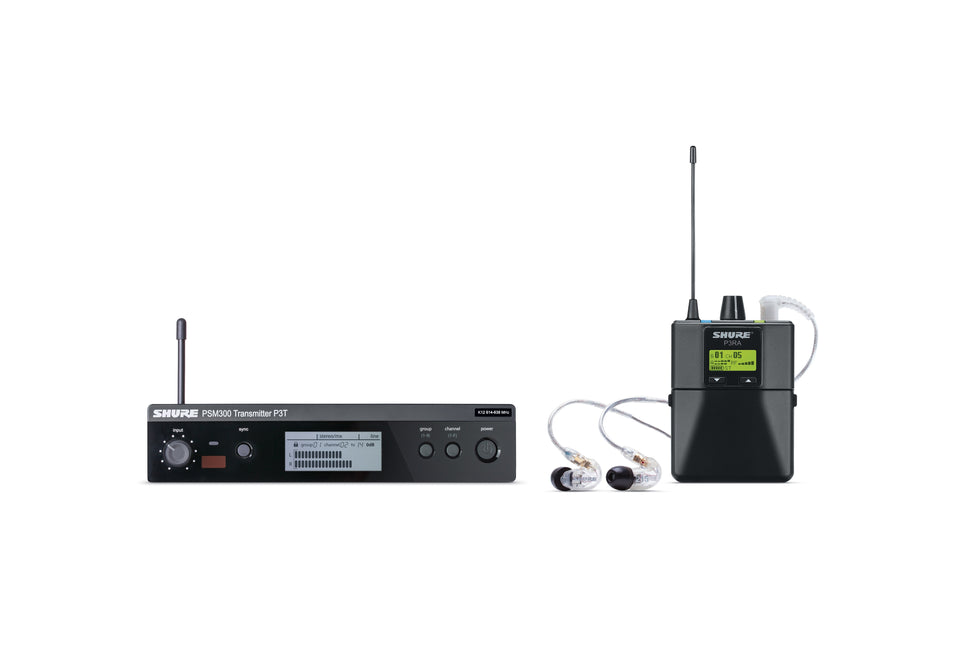 Shure P3TRA215CL J13 PSM300 Stereo Personal Monitor System W/ SE215 Earphones