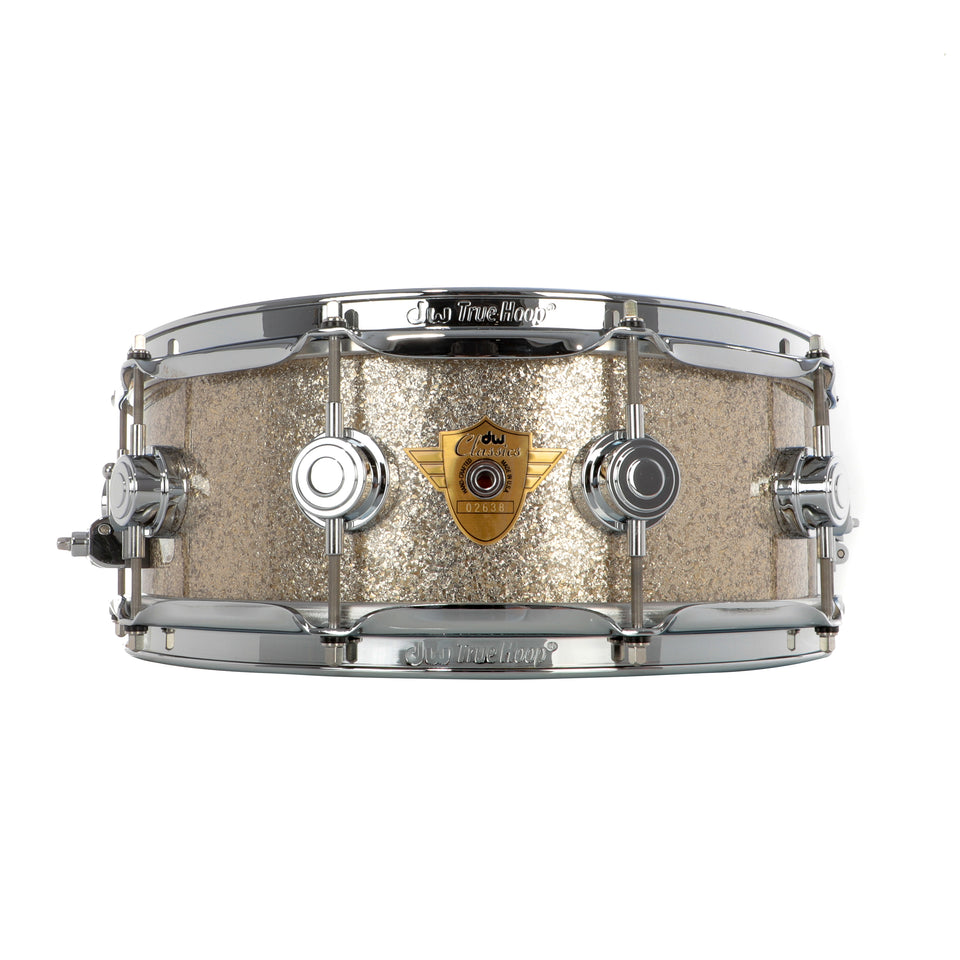 "Drum Workshop 14"" x 5"" Classics Series Snare Drum - Nickel Sparkle Glass With Chrome Hardware"