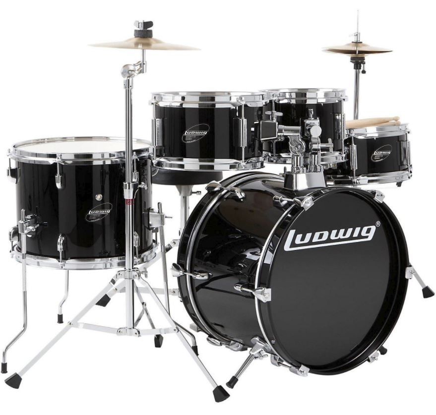 Ludwig Junior 5 Piece Complete Drum Set - Black