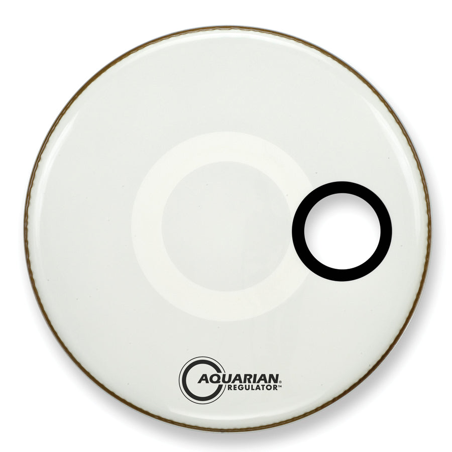 "Aquarian 22"" White Regulator Bass Drum Head With 4.25"" Offset Port"