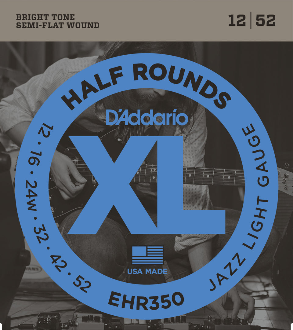 D'addario EHR350 Half Round Electric Guitar Strings, Jazz Light 12-52 Gauge
