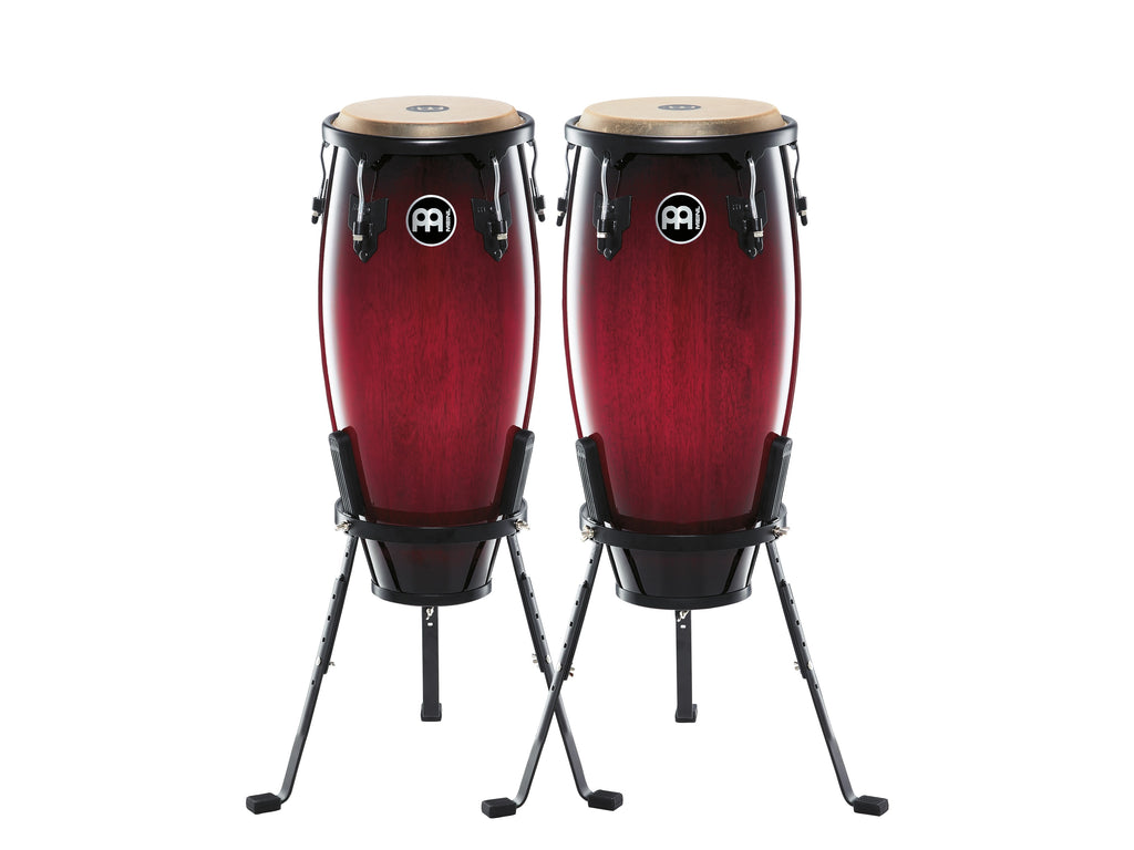 "Meinl HC555WRB Headliner Wood Congas 10"" And 11"" Set With Stands - Wine Red Burst"