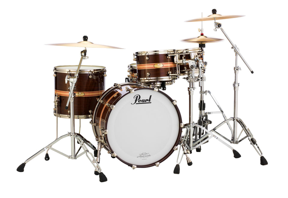 Pearl Masterworks Sonic Select Modern Dry Shell Pack - Gloss Walnut w/ Stripe & Nickel Hardware
