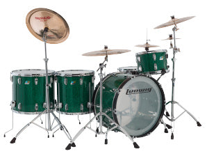 Ludwig 45th Anniversary Vistalite Drum Kit Shell Pack - Green Sparkle