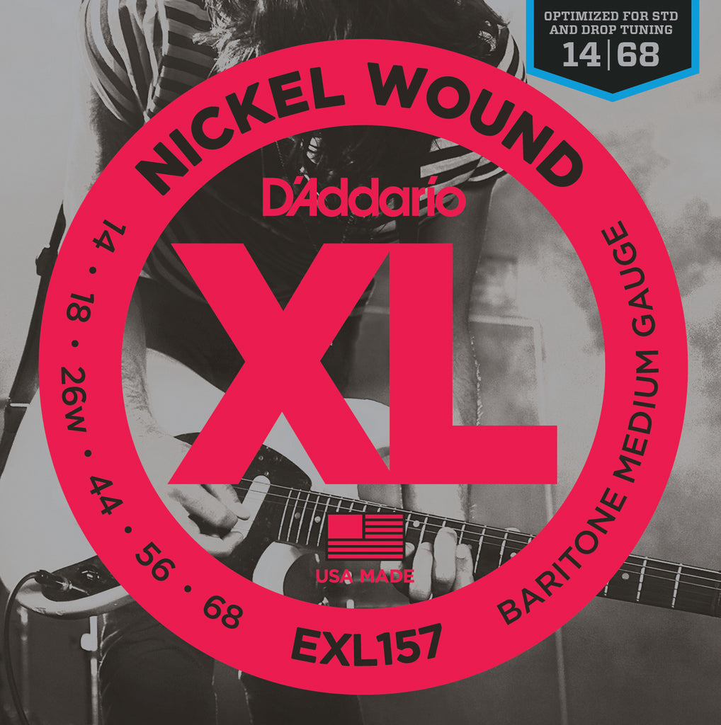 D'addario  EXL157 Nickel Wound Electric Guitar Strings, Baritone Medium, 13-62
