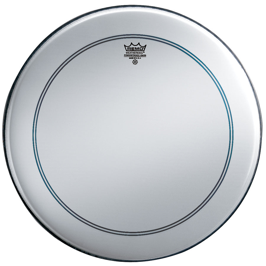 "Remo 22"" Smooth White Powerstroke 3 Bass Drum Head With Falam Patch"