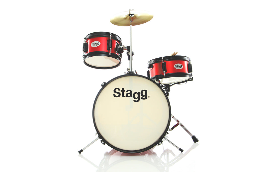 "Stagg 16"" Kick 3 Piece Junior Drum Set - Red"