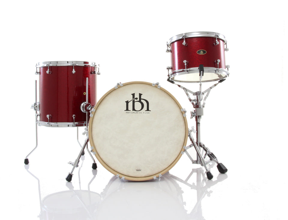 RBH Drums Monarch 3 Piece Drum Set Shell Pack - Ruby Sparkle
