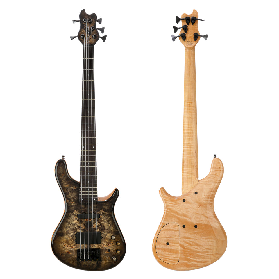Brubaker NBS-5 Custom Burl Top 5-String Electric Bass - Natural Blackburst