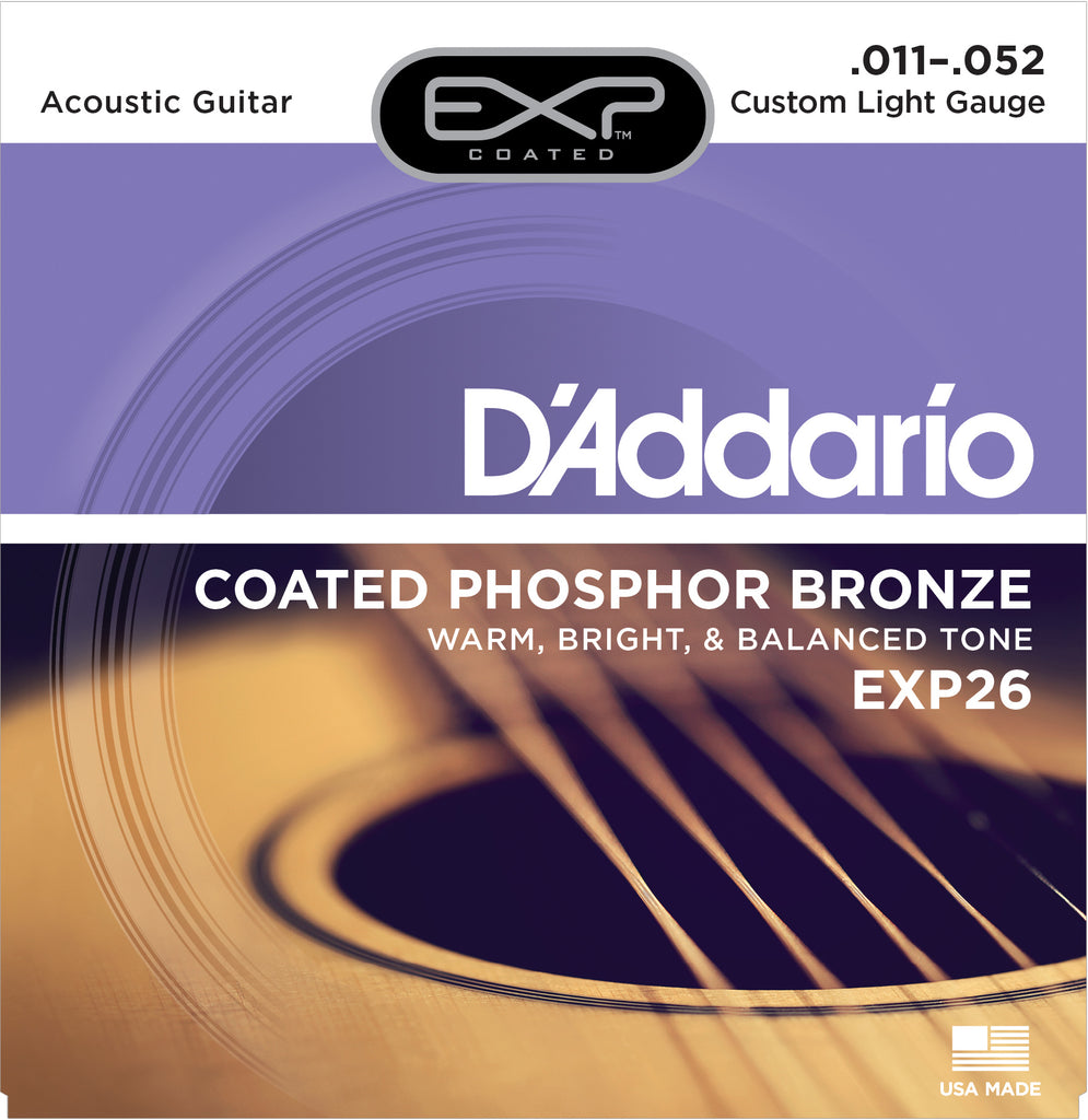 D'addario  EXP26 Coated Phosphor Bronze Acoustic Guitar Strings, Custom Light, 19299