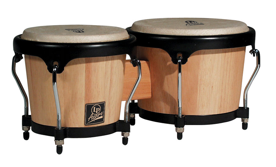 LP LPA601-AW Aspire Wood Bongos, Natural/Black