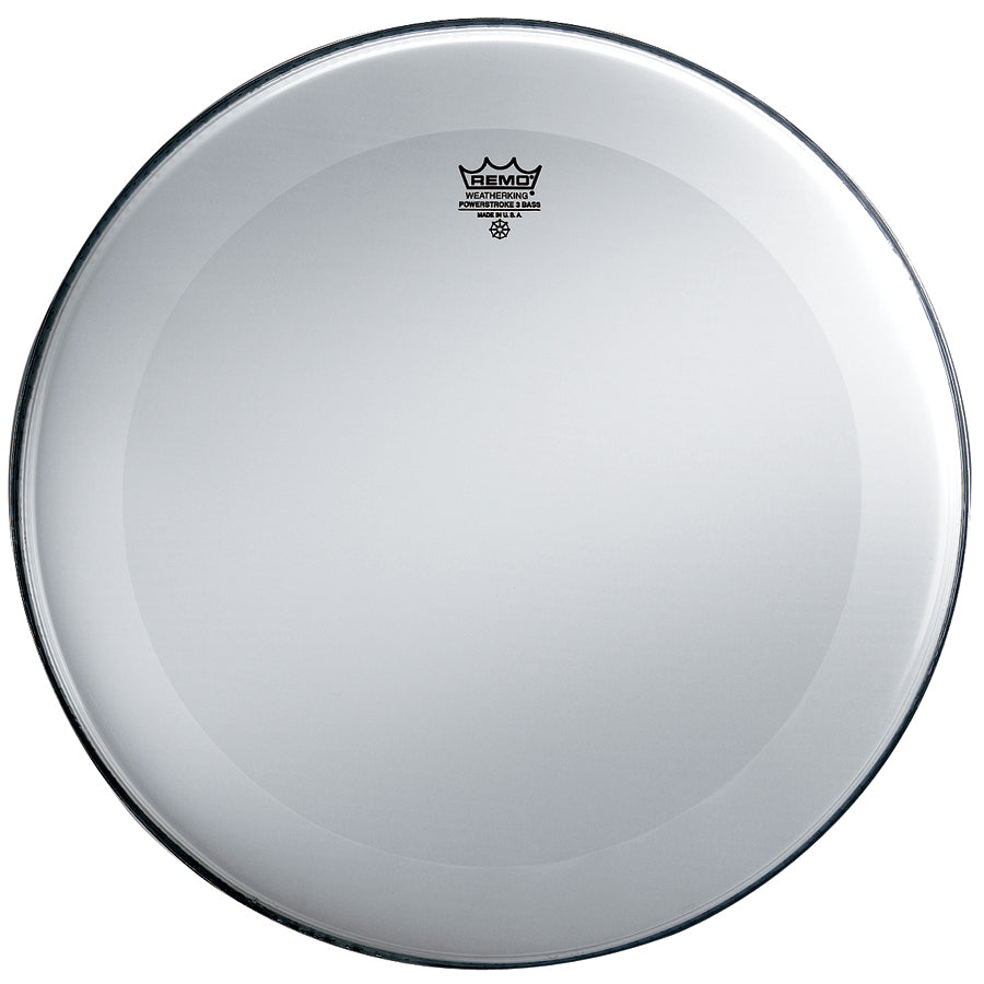 "Remo 24"" Smooth White Powerstroke 3 Resonant Bass Drum Head, No Stripe"