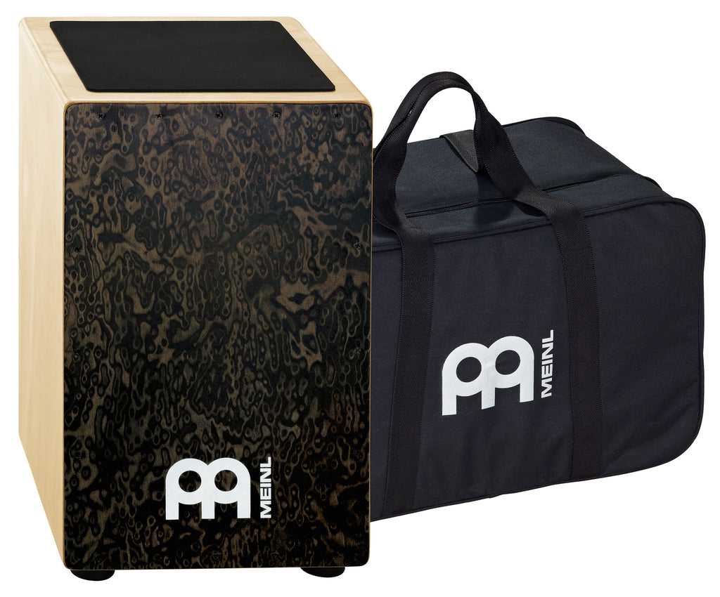 Meinl CAJ3BMB-M BAG Traditional String Cajon With Black Makah-Burl Wood Frontplate Bag Included