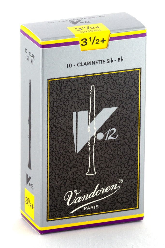 Vandoren V.12 B-Flat Clarinet Reeds, #3.5+ - Box of 10