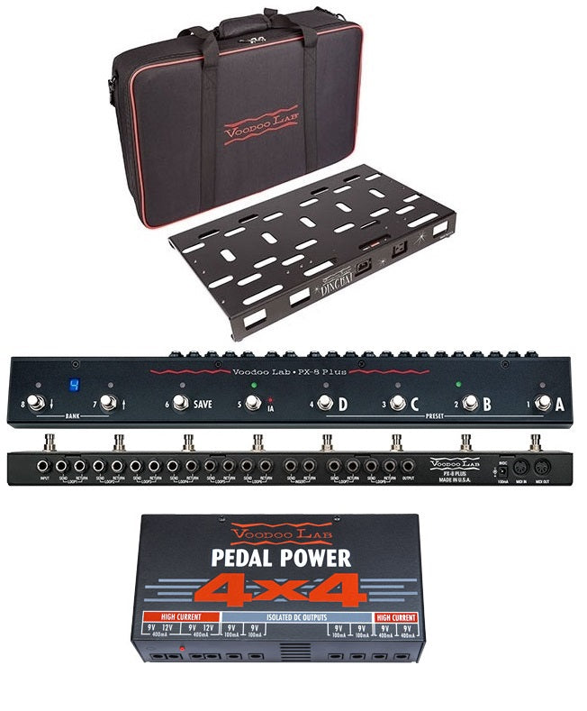 Voodoo Lab Dingbat PX Pedalboard W/ PX8 Plus Switcher & Pedal Power 4x4 Power Supply