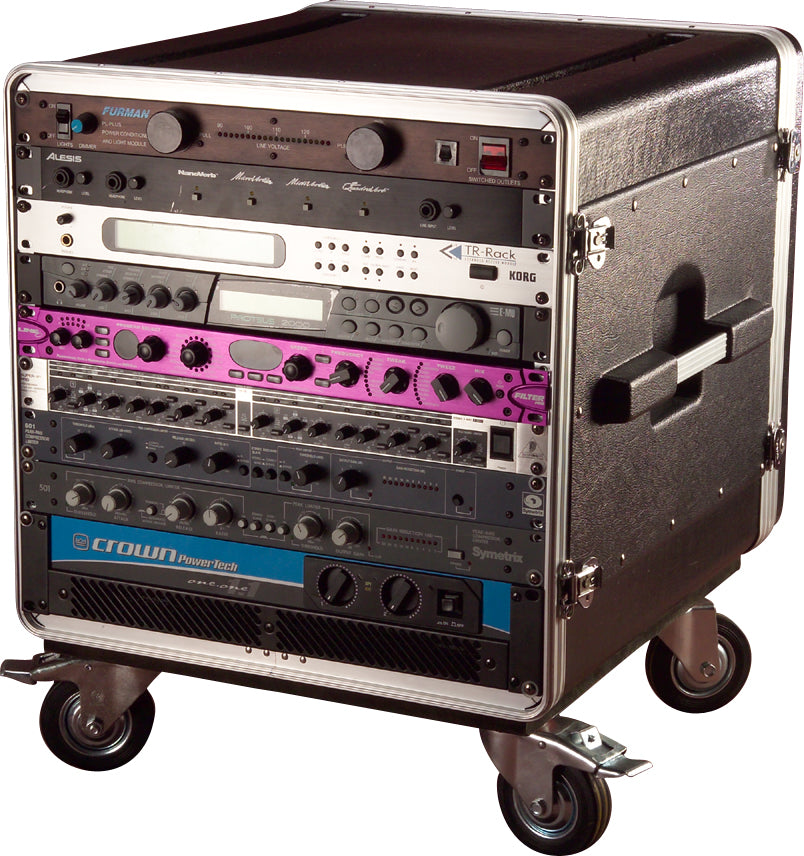 "Gator Cases GRC-BASE-10 ATA Molded PE Rack With Casters 10U x 21"" Deep"