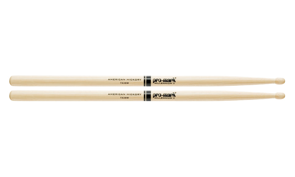 Promark TX2BW Hickory 2B Wood Tip Drumsticks
