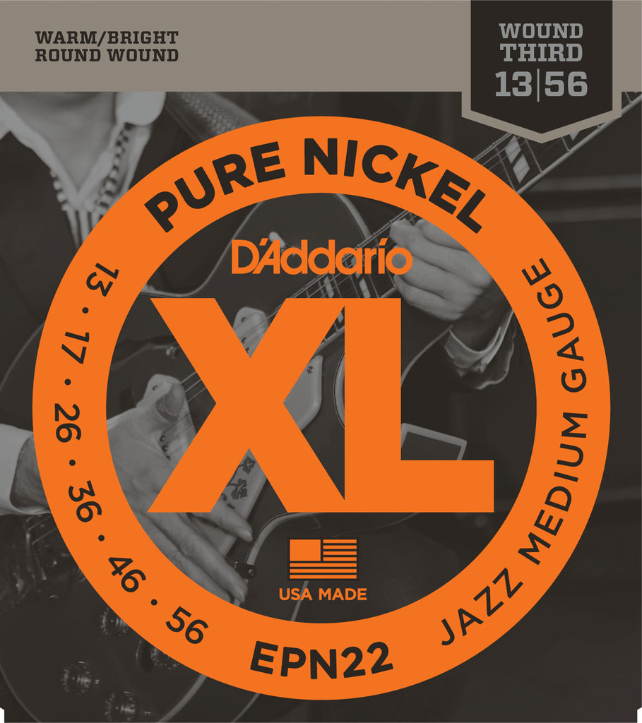 D'addario  EPN22 Pure Nickel Electric Guitar Strings, Jazz Medium, 13-55