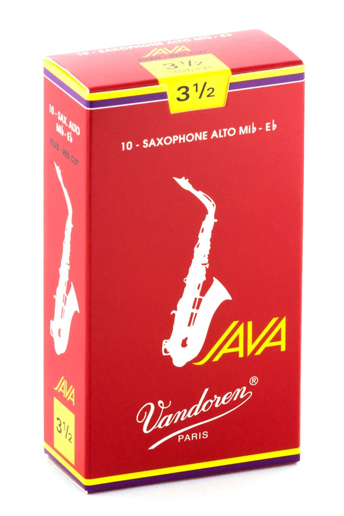 Vandoren Java Red Alto Sax Reeds, #3.5 - Box of 10