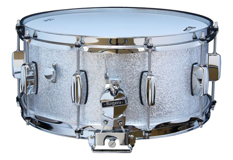 "Rogers 14"" x 6.5"" Dyna-Sonic Wood Shell Snare Drum - Silver Sparkle"