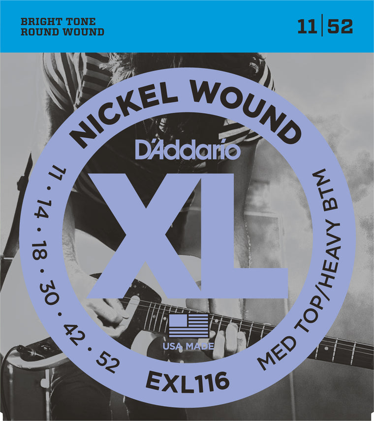 D'addario  EXL116 Nickel Wound Electric Guitar Strings, Medium Top/Heavy Bottom, 19299
