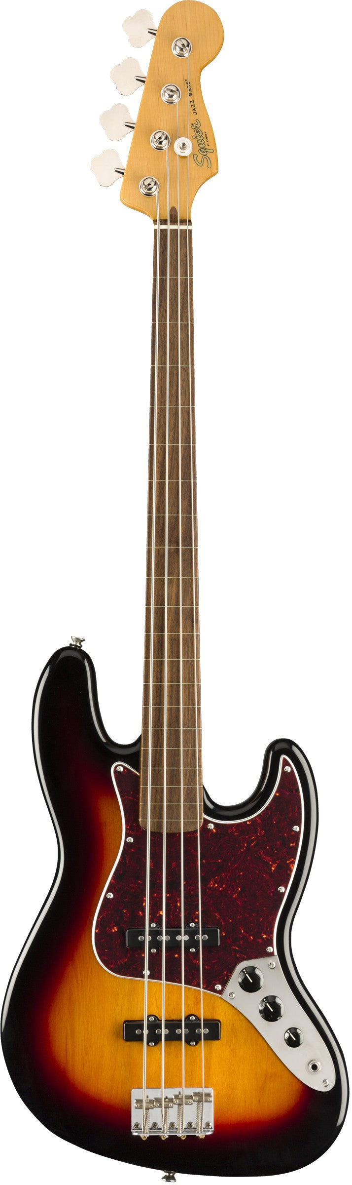 Squier Classic Vibe '60's Fretless Jazz Bass - 3-Color Sunburst, Laurel Fingerboard