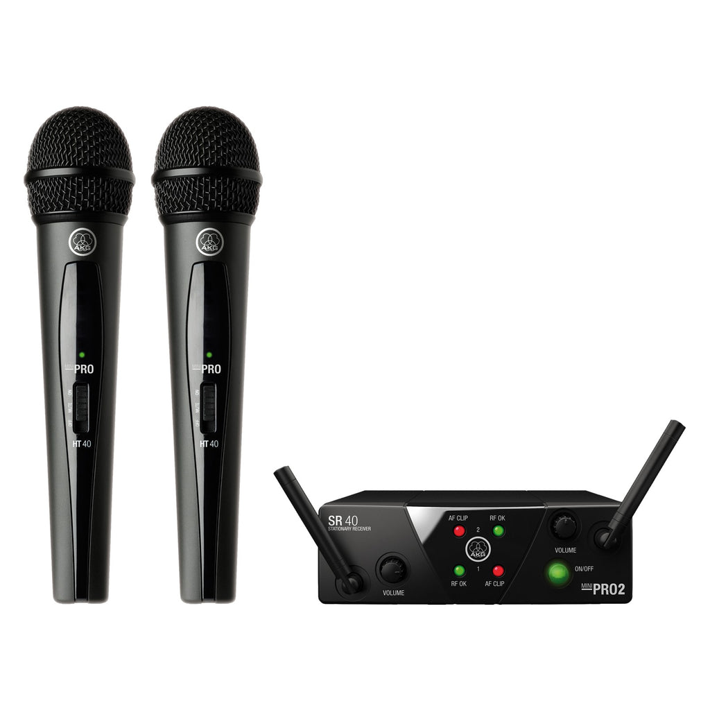 AKG WMS40 Mini Dual Vocal Set Wireless Microphone System (C & D Band)