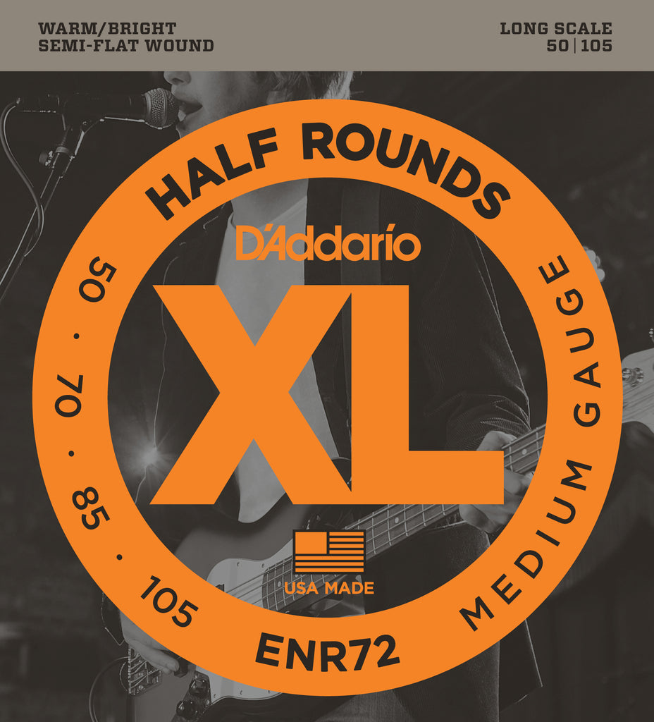 D'addario  ENR72 Half Round Bass Guitar Strings, Medium, 50-105, Long Scale
