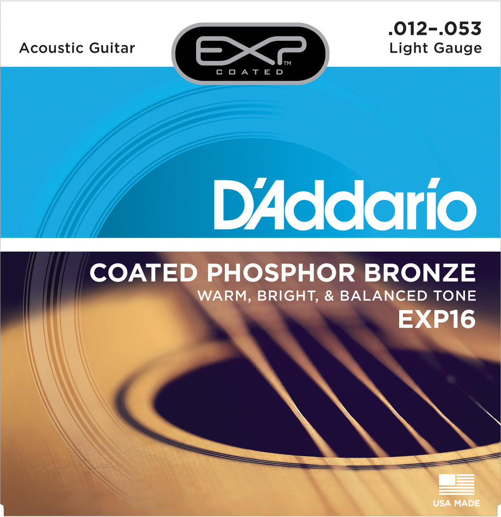 D'addario EXP16 Coated Phosphor Bronze Acoustic Guitar Strings, Light, 12-53